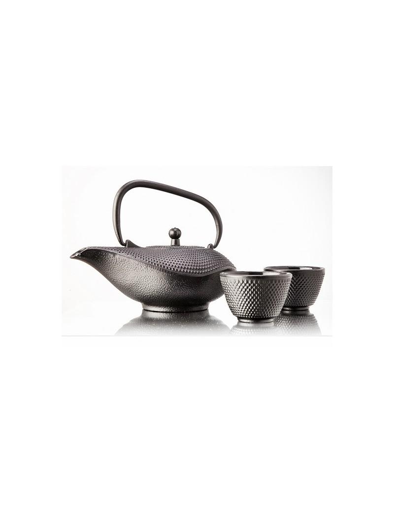 Tetera china negra de hierro 1l con cuencos