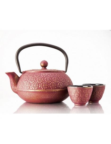 Tetera china roja de hierro 1l con cuencos